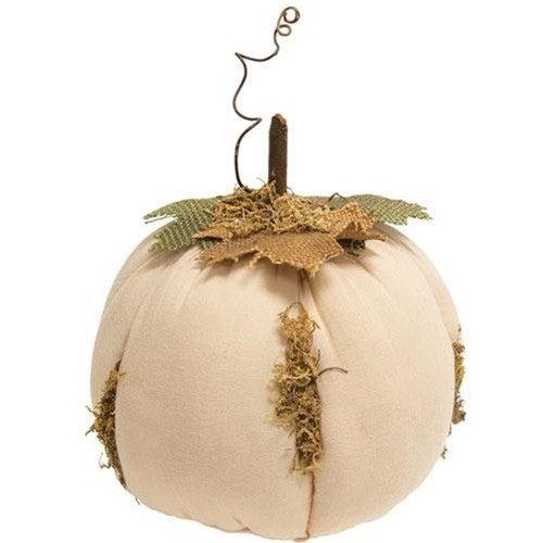 "Mossy White Stuffed Pumpkin, 6.5"" x 7.5"""