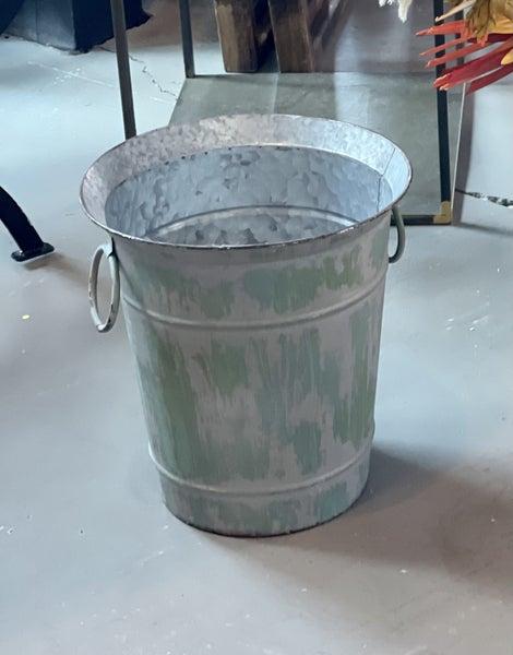 Metal Bucket w/ Green Wash