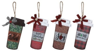 Wood Holiday Cup Ornament