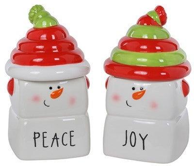 Ceramic Joy/Peace Snowman Jar