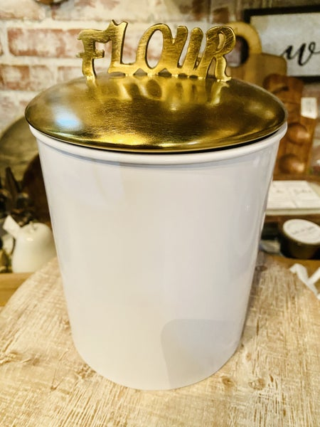 Flour Word Canister - Wht w/Brushed Gold Tone  Lid