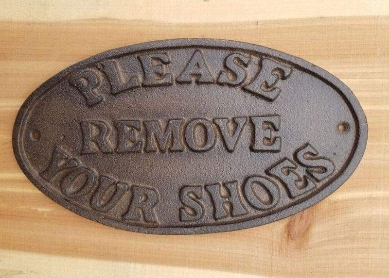"""Cast Iron """"Please Remove Your Shoes"""" Plaque"""