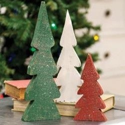 3/Set, Distressed Christmas Colors Wooden Trees