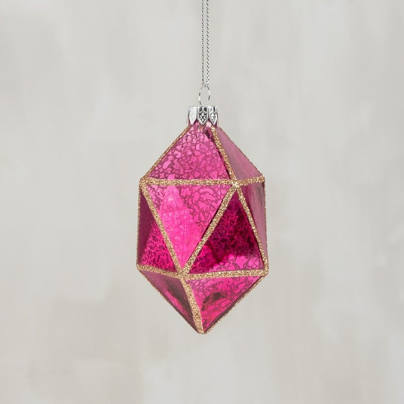 Glass Ornament - Faceted Pink