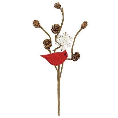 Cardinal Pine Cone Snowflake Pick