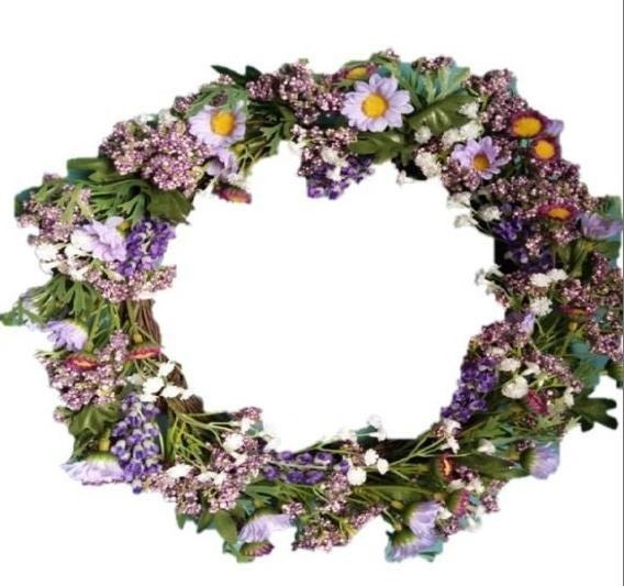"12"" Purple Daisy Wreath"