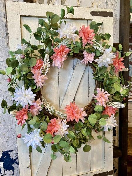 "24""D Mixed Flower Wreath w/ Be"