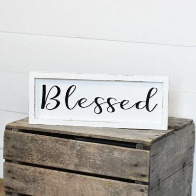 Framed Tin Blessed Sign