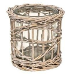 Graywash Willow Wrapped Glass Votive Holder