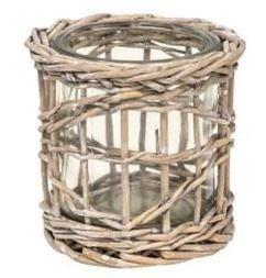 Graywash Willow Wrapped Glass Votive Holder