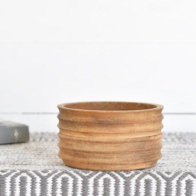 WOOD GROOVED BOWL