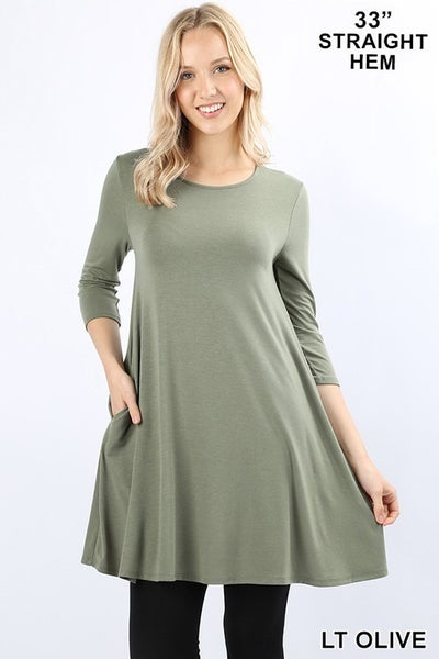 PREMIUM FABRIC 3/4 SLEEVE SWING TUNIC WITH SIDE POCKETS