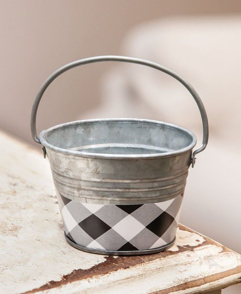 Black & White Buffalo Check Mini Oval Pail