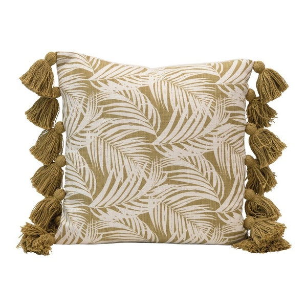 """18"""" Square Cotton Pillow w/ Palm Frond Pattern & Tassels"""