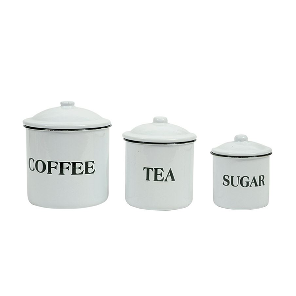 "Enameled Containers ""Coffee"", ""Tea"" & ""Sugar"" w/ Lids"