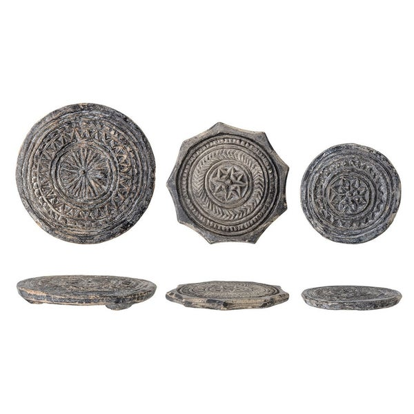 Round Found Carved Stone Biscuit Mould- ASSORTED
