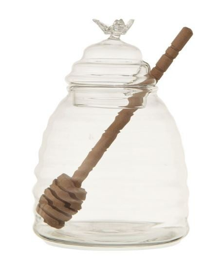 Glass Honey Jar w/ Wood Honey Dipper