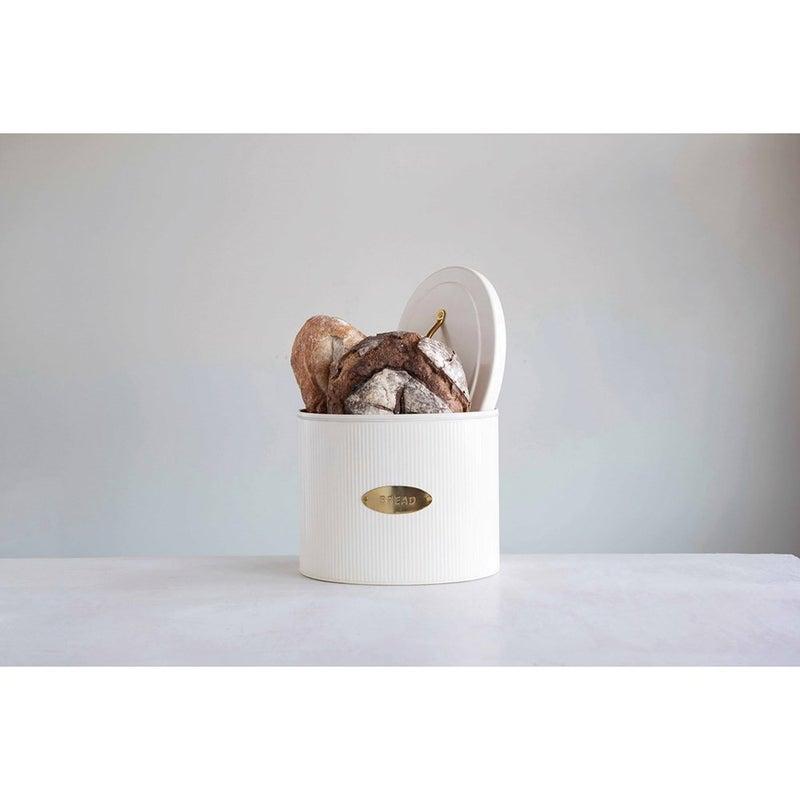 Metal Oval Storage Bread Box w/ Lid