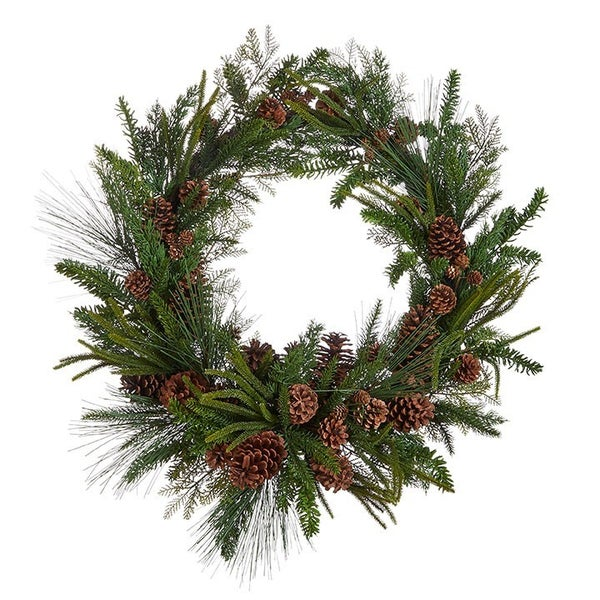 """34.5"""" PINECONE AND MIXED GREENERY WREATH"""