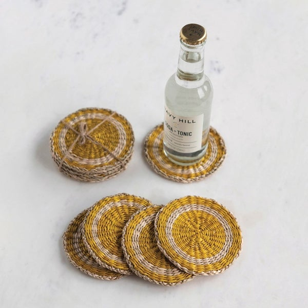 """4"""" Round Hand-Woven Seagrass Coasters"""