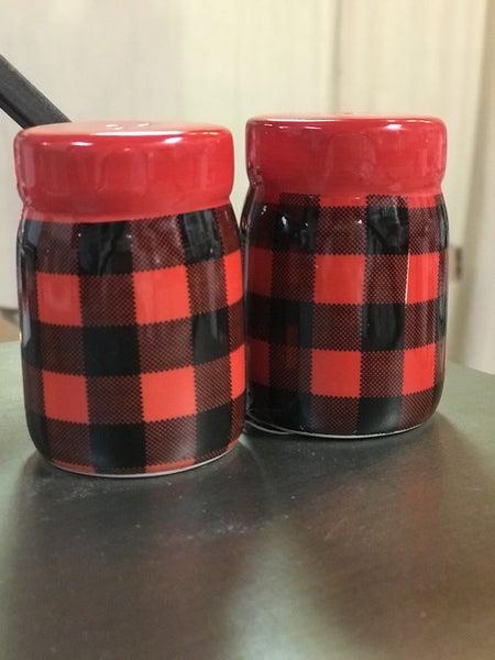 Red & Black Buffalo Check Salt & Pepper Shakers