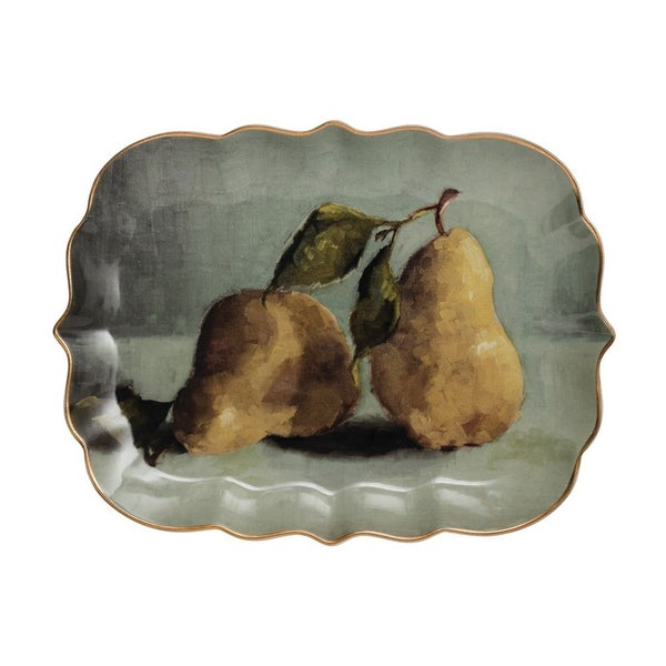 Stoneware Platter with Pear Image & Gold Electroplating