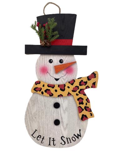 Wood Holiday Leopard Snowman Ornament