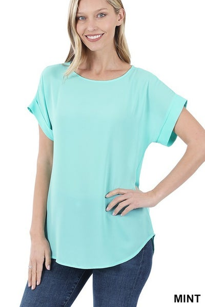 WOVEN WOOL  ROLLED SLEEVE TOP