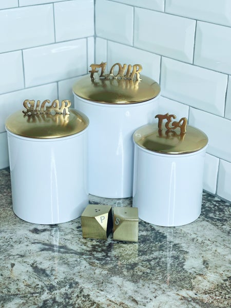 Canister set - Wht w/Brushed Gold Tone  Lid