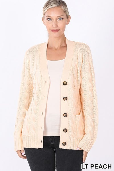CABLE KNIT BUTTON CARDIGAN WITH POCKETS