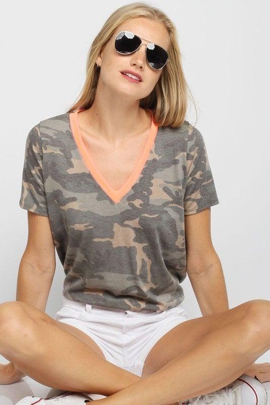 Camouflage  Print V-Neck Short Sleeve Top
