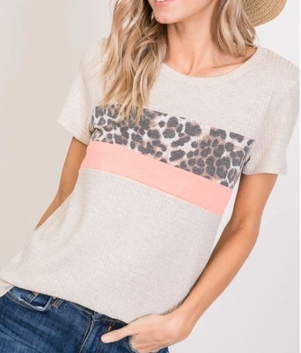 Oatmeal / Neon Coral Top