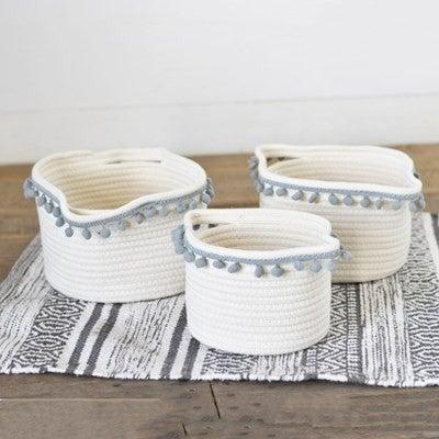 White Rope Basket W/ Grey Pompom