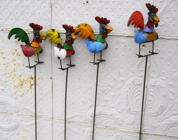 Recycled Metal Rooster Yard Stake, Multi-Colored *LOCAL PICKUP ONLY*