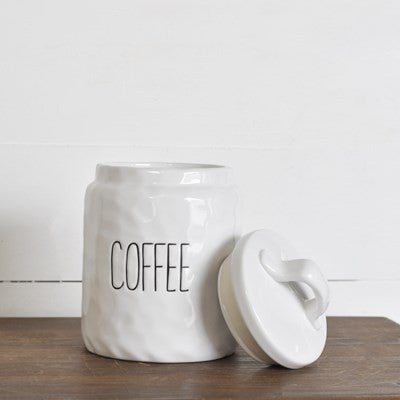 WHITE CERAMIC COFFEE KEEPER