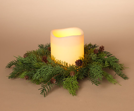 "16""L Cedar W/ Pinecone Candle Ring"
