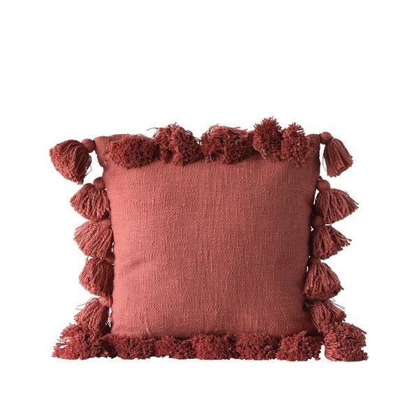 """18"""" Square Cotton Woven Slub Pillow w/ Tassels- Russet Color"""