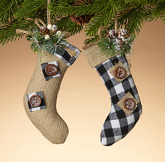 "6.5""H Plaid Stocking Ornament Assorted"