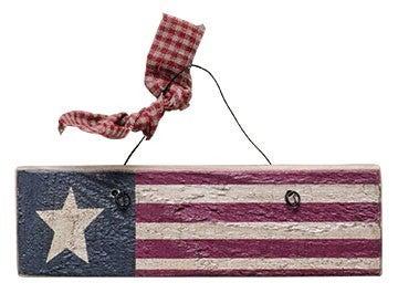 Antiqued Wood Flag Ornament