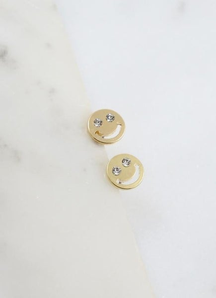 Moscow Cz Smiley Face Stud Earring -Gold