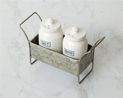 Salt And Pepper Shaker With Galvanized Caddy
