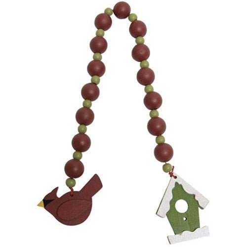Birdhouse & Cardinal Beaded Ornament