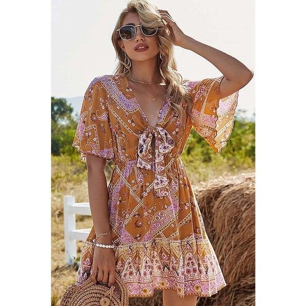 Tying Floral Print V Neckline Mini Dress