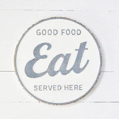 EAT TIN ROUND SIGN