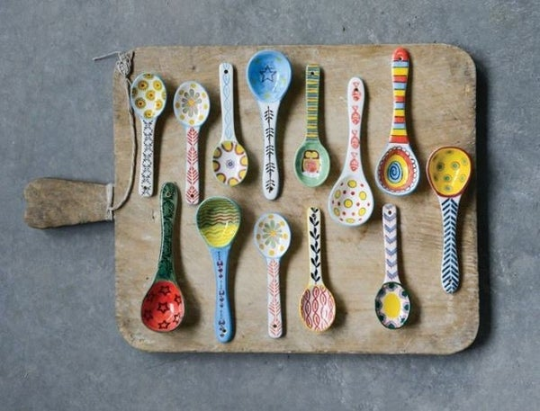 Assorted Stoneware Spoon w/ Painted Pattern