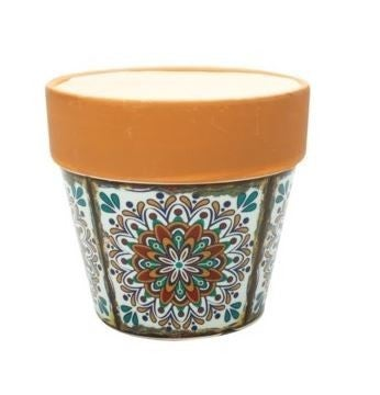 MEDITERRANEAN POTTERY - SMALL FLOWER POT - COCONUT LIME