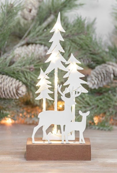 SNOW FOREST DEER TABLETOP WITH LED