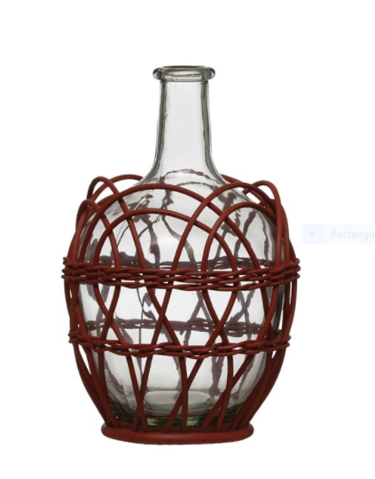Glass Bottle w/ Woven Bamboo Sleeve, Red