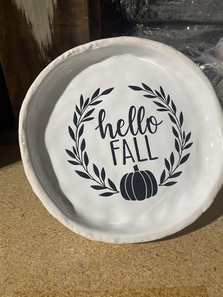 Ceramic Hello Fall Canape Plate