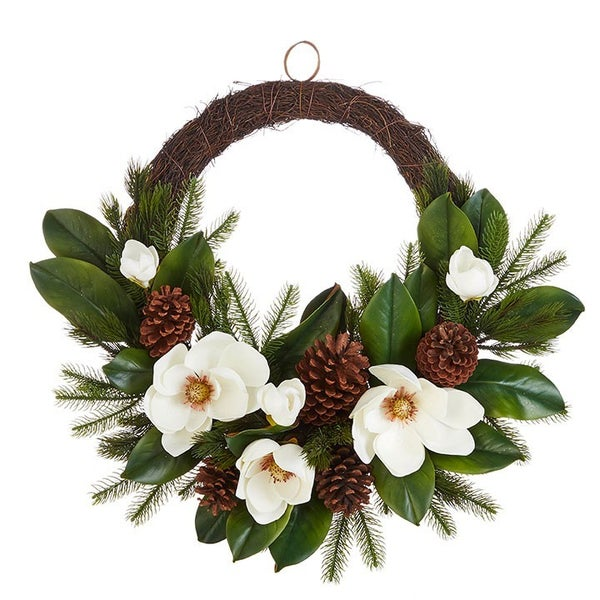 """26"""" REAL TOUCH MAGNOLIA WREATH"""
